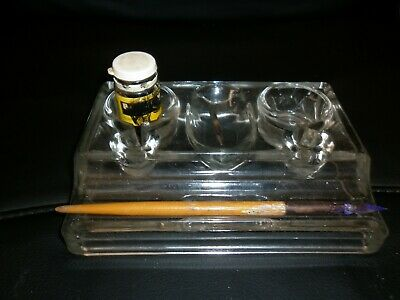 Vintage Glass Double Inkwell/Wood Ink Pen & Ink/Nibs Collectable Made In England