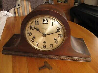 Napoleon Hat Westminster Chime  Mantle Clock Working With Key Needs Tidying