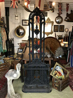 Antique Victorian Cast Iron Hall Stand By Falkirk Not Coalbrookdale