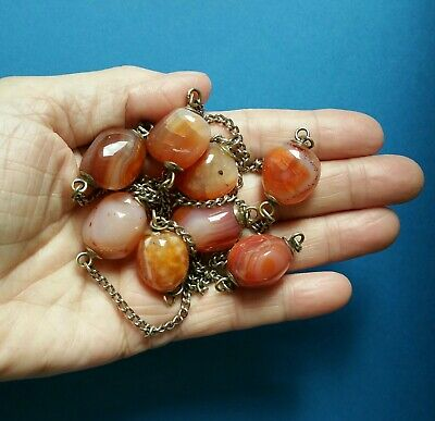 Antique Victorian Natural Large Carnelian Bead, Silver Metal Chain Necklace.