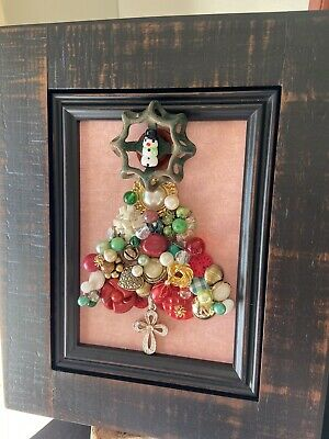 Christmas Decoration Framed 5x7 Vintage Jewelry Tree Brooch Faucet Handle Gift