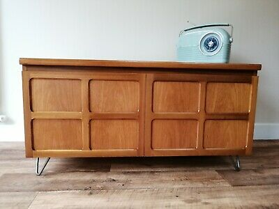 retro mid century nathan low tv media unit / small sideboard set on hairpin legs