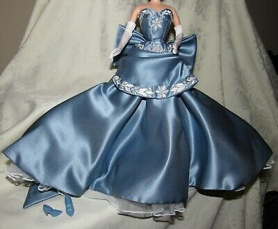 Barbie Wedgwood Blue White Gown Dress & Shoes & Gloves Fashion Lot For Doll