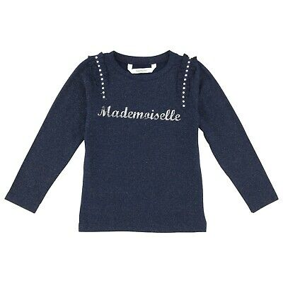 3POMMES Girl blue long sleeve top with silver Mademoiselle and ruffle 5,6 yr