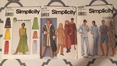 Lot Of 3 Simplicity Sewing Patterns Ladies Pjs Coats  Size AA #7513 #9478 #9898