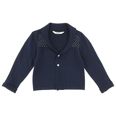 3POMMES Girl blue long sleeve cardigan with silver beading 5, 6 8, 10, 12 yrs