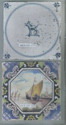 2 - Antique Delft Tile 1775 + 1880