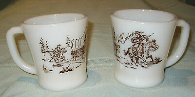 Pair of VINTAGE Davy Crockett Fire King Oven Ware Mugs Milk Glass Brown Print