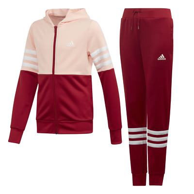 Adidas Girls Track Suit Hooded Set Running Training School Fashion Sports ED4639
