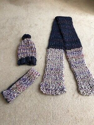 Homemade Knitted Scarf, Hat And Glove Set