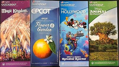 NEW 2019 Walt Disney World Theme Park Guide Maps - 4 Maps Free Shipping + Bonus!