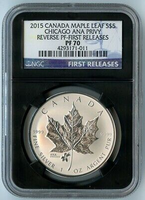 2015 Canada Ngc First Releases Pf70 Rev. Pf-Maple Leaf Chicago Ana Privy S$5!