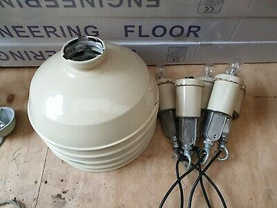 Large Reclaimed Industrial Lamp Shades, Cream Enamel, ES Lamp holder (Patina)