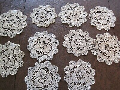 VINTAGE HAND MADE COTTON LACE DOILIES -2 large & 7 small- Beige