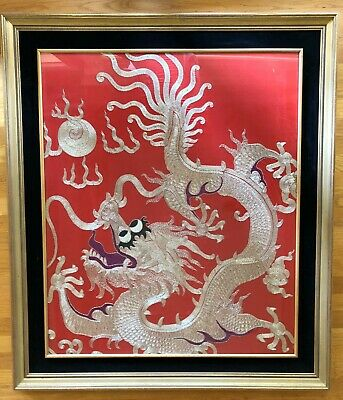Very Large Antique Chinese Red Silk and Gold Thread Dragon Tapestry