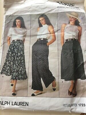 Vogue 1723 Ralph Lauren Sewing Pattern For Ladies Skirts & Trousers Size 14