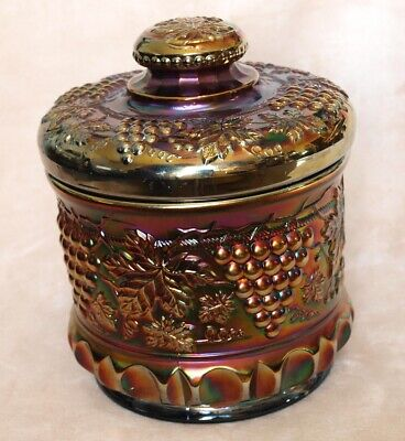 Northwood Carnival Glass Grape And Cable Amethyst Purple Humidor