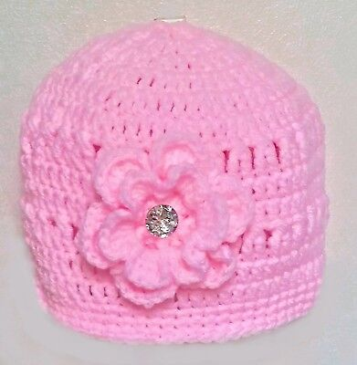 PINK ANGEL PREEMIE BABY GIRLS HAND CROCHETED HAT small diamante romany bling
