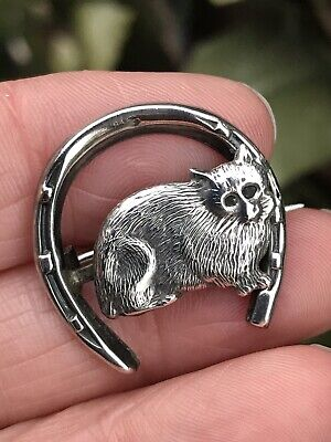 Antique Victorian/Edwardian Sterling Silver Lucky Horseshoe /Cat Brooch/Pin