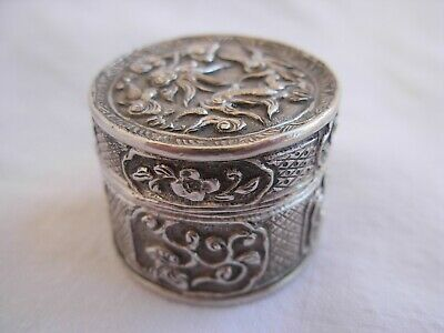 ANTIQUE CHINESSE SOLID SILVER PILL BOX,SIGNED,LATE 19th OR EARLY 20th CENTURY,