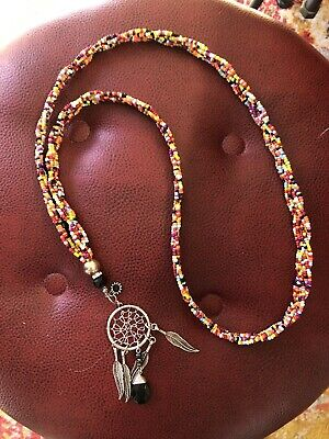 Western Santa Fe SW Colorful Braided Beaded Necklace With Dream Catcher Pendant