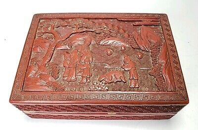 Antique Chinese Carved Lacques Box Cinnabar Grandparents Children Dog