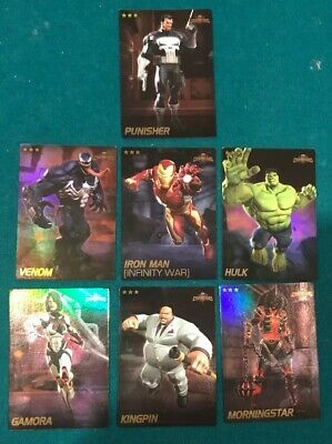 Marvel Contest Of Champions Dave & Busters Cards- Venom IRON MAN HULK FOIL