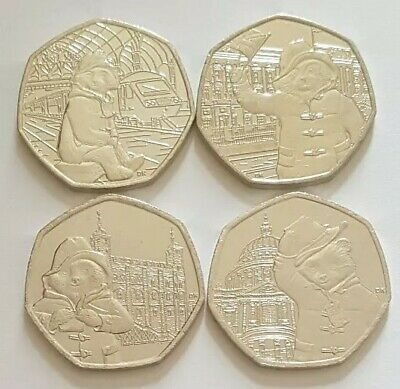 2018 2019 Set of 4 Paddington Bear Fifty Pence 50p Coins UK from Sealed bags