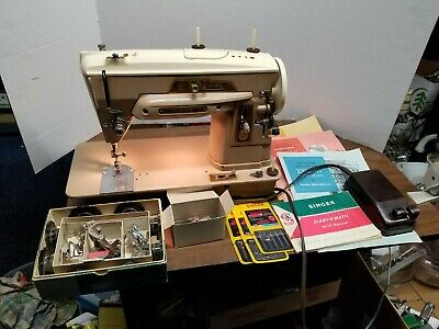 Singer 403 Special Slant O Matic Sewing Machine W/ All Accessories Shown