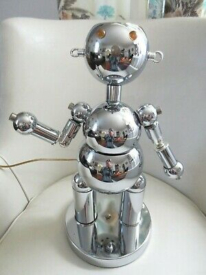 Torino Robot Chrome Space Age Lamp 1970's Vintage