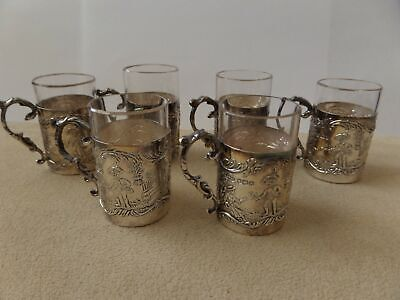 Set of 6 J.D & S Sterling Silver Liqueur/ Shot Glass & Holders. 1927 Hallmarked