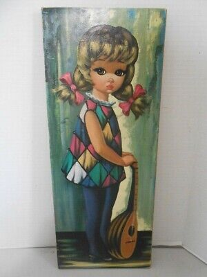 """Vintage 1960s """"Big Eye Girl"""" painting by Eden lithograph on pressboard"""