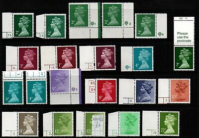 Machins  21 Singles  With Cylinder Numbers  As Scan   Unhinged Mint