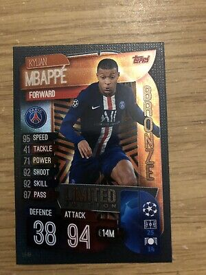 Match Attax 2019/20 Kylian Mbappe Bronze Limited Edition Le4B Mint
