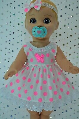"Play n Wear Dolls Clothes 17"" Luvabella Doll FLURO PINK POLKA DOT DRESS~HEADBAND"