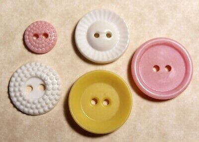 5 Pink White & Yellow Possible unconfirmed Vintage Colt Fire Arms Buttons