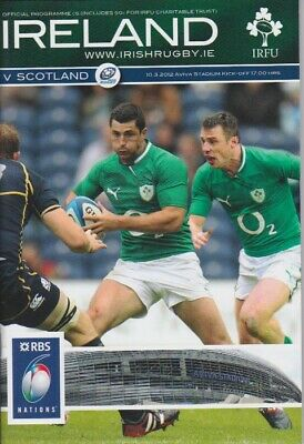 IRELAND v SCOTLAND 6 NATIONS RUGBY MINT PROGRAMME 10th MARCH 2012