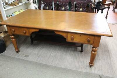 A Large 2m Victorian Cedar Partners Desk with Leather Top & Four Drawers