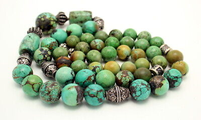 Vintage Heavy Chinese Carved Turquoise Bead Necklace 263.6 Grams