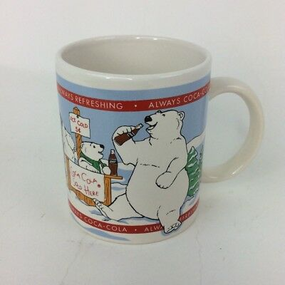 Coca Cola Brand Polar Bear Family 12 ounce Coffee Mug Cup 1996 Christmas