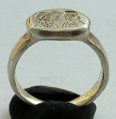 Silver Byzantine Ring Wedding Band With Male And Female Bust