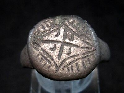 AMAZING LATE ROMAN CHRISTIAN BILLON RING w/ CROSS ON THE TOP+++