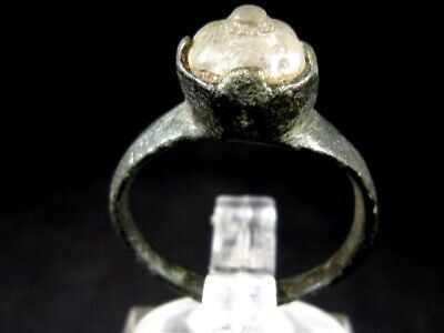 Amazing Byzantine Bronze Ring, Glass Stone On The Top, Quality+++