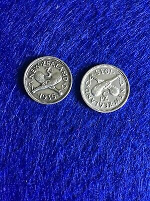 2 New Zealand 1935 Threepence.  Rare. Rare