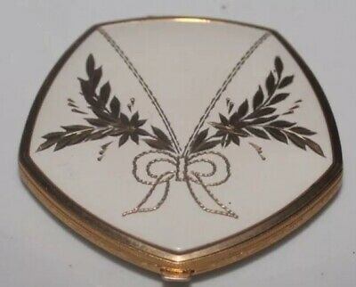 Vintage Compact Vanity Case White Enamel And Gold Tone Beautiful