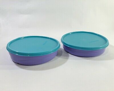 Tupperware Lot Of 2 Munchkids Divided Dish Bowl 2552A w/ Teal Lids Seal Vintage