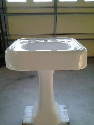 1920s CAST IRON White Pedestal Sink refinished