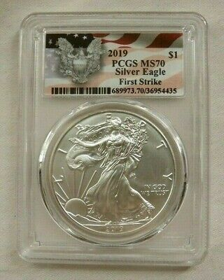 2019 American Silver Eagle - PCGS MS70 - First Strike Red Flag Label