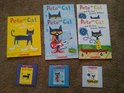 """Read Along""  children's books with CD's ""Pete the Cat"" (lot of 3 CD's, 5 books)"