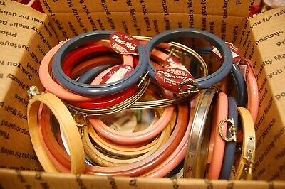 Lot 30 Vintage Cross Stitch Embroidery Hoops Frames Various Circle Oval Large